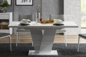 Biały stół rozkładany na jednej nodze niko w wysokim połysku