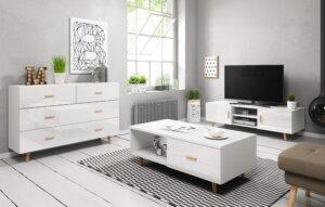 Skandynawski stolik kawowy z szufladą sweden ii biały/biały połysk