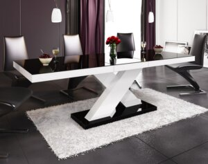 Stół rozkładany w wysokim połysku xenon z czarnym blatem na białej nodze