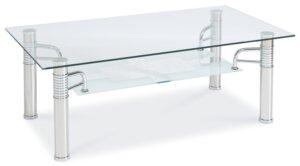 Szklana ława prostokątna z półką reni b