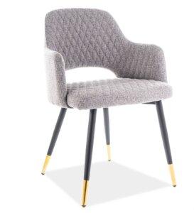 Pikowane krzesło jadalniane franco ze złotymi końcówkami