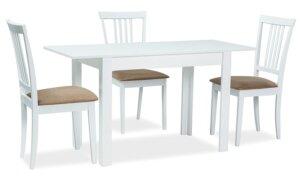 Biały stół rozkładany na czterech nogach albert 120×68 cm
