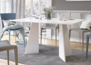 Biały stół do jadalni w wysokim połysku violan