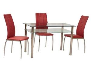Klasyczny stół jadalniany ze szklanym blatem pixel 120×70