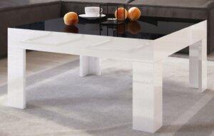 Stolik do salonu w wysokim połysku simple 80×80 z czarnym blatem i białymi nogami