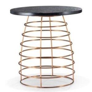 Designerski stolik kawowy z bazaltowym blatem borneo