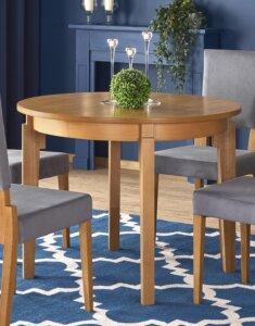 Okrągły stół do jadalni z funkcją rozkładania sorbus dąb miodowy