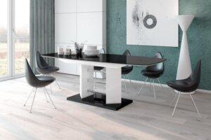 Stół rozkładany w wysokim połysku linosa 3 z czarnym blatem na białej nodze