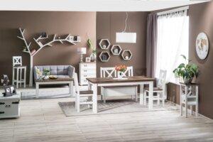 Drewniane krzesło poprad brunatny wosk / biały wosk