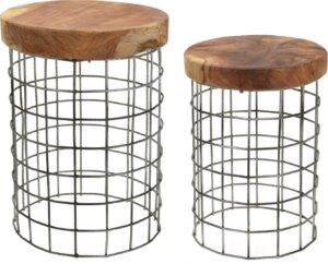 Zestaw 2 stołków w stylu industrialnym rize round