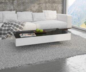 Stolik w wysokim połysku z czarnym blatem i białymi bokami pixel