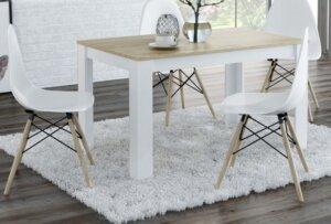 Stół do jadalni w stylu skandynawskim nikea dąb craft złoty / biały