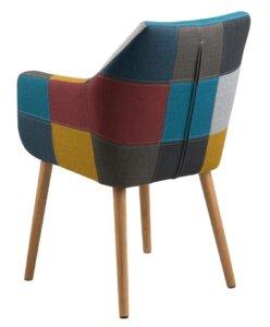 Tapicerowane krzesło z poduszką nora tkanina patchwork