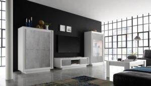Szafka rtv paradise biała z optyką betonu