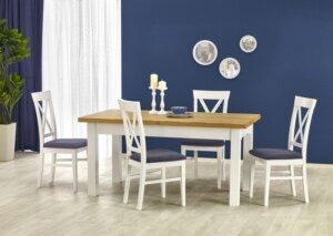 Drewniane krzesło z tapicerowanym siedziskiem bergamo