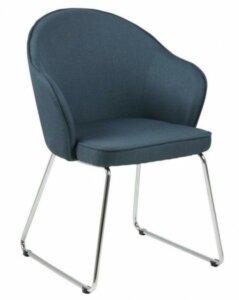 Tapicerowane krzesło na płozach mitzie szare tkanina