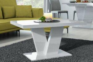 Biały stolik kawowy do salonu niko mini w wysokim połysku