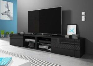 Szafka pod telewizor z półką best double czarny/czarny połysk