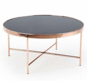 Okrągły stolik miedziany z blatem szklanym moria
