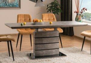 Rozkładany stół na jednej nodze leonardo efekt betonu 140-180