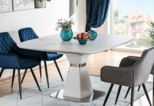 Kwadratowy stół biały z funkcją rozkładania saturn