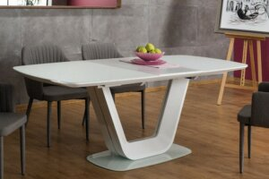 Rozkładany stół do jadalni ze szklanym blatem armani 160×90 cm