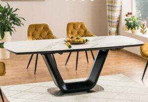 Czarno-biały stół rozkładany z ceramicznym blatem armani ceramic