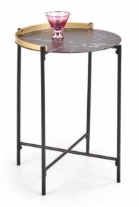 Okrągły stolik pomocniczy z blatem w kolorze marmuru linux