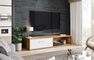 Minimalistyczna szafka pod telewizor simple dąb appalachian/biały