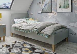 Szare skandynawskie łóżko z wezgłowiem kubi