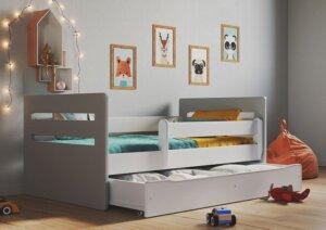 Łóżko dziecięce z szufladą candy 2x mix 80×160 – szare