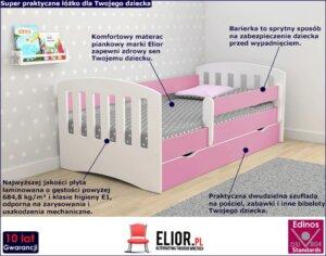 Łóżko dziewczęce z szufladą i materacem pinokio 2x 80×160 – różowe