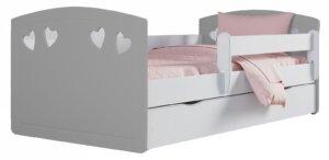 Łóżko dla dziewczynki z szufladą nolia 3x 80×140 – szare