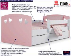 Łóżko dla dziewczynki z materacem nolia 3x 80×140 – pudrowy róż