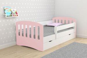 Łóżko dla dziewczynki z szufladą pinokio 2x mix 80×180 – pudrowy róż