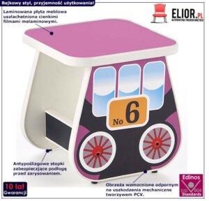 Kwadratowy taboret wagonik milo 4x – fioletowy