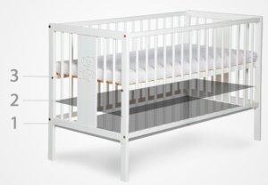Łóżeczko dla dziecka z regulowanym dnem marsell 120×60