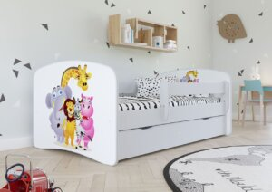 Łóżko dziecięce z barierką happy 2x mix 80×160 – białe