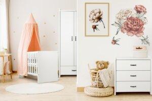 Białe łóżeczko dziecięce z funkcją tapczanika amelia 120×60