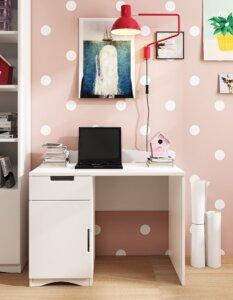 Białe biurko dziecięce z szafką i szufladą classic
