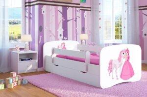 Łóżko dla dziewczynki z materacem happy 2x mix 70×140 – białe