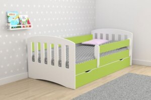 Łóżko dziecięce z szufladą i materacem pinokio 2x 80×140 – zielone