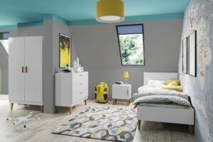 Białe łóżko w stylu skandynawskim kubi