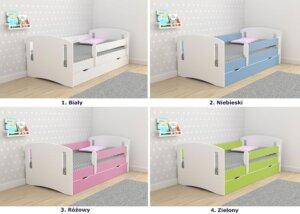 Łóżko dla dziewczynki z barierką pinokio 3x 80×180 – różowe