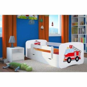 Łóżko dla chłopca z materacem happy 2x mix 70×140 – białe