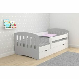 Łóżko dziecięce z barierką pinokio 2x mix 80×160 – szare