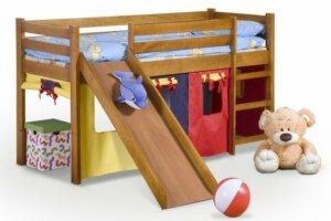 Drewniane łóżko na antresoli z drabinką i zjeżdżalnią neo plus