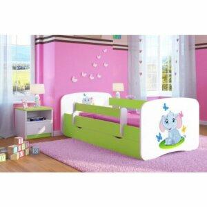 Łóżko dziecięce ze stelażem happy 2x mix 80×160 – zielone