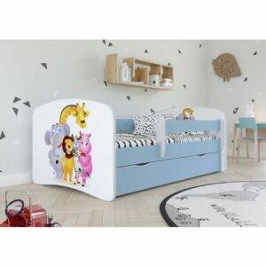 Łóżko dla chłopca z barierką happy 2x mix 80×160 – niebieskie