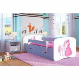 Łóżko dla dziecka z barierką happy 2x mix 70×140 – niebieskie
